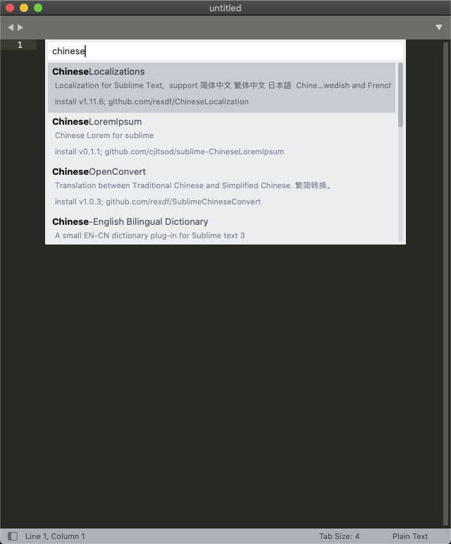 Sublime Text for Mac 设置中文教程